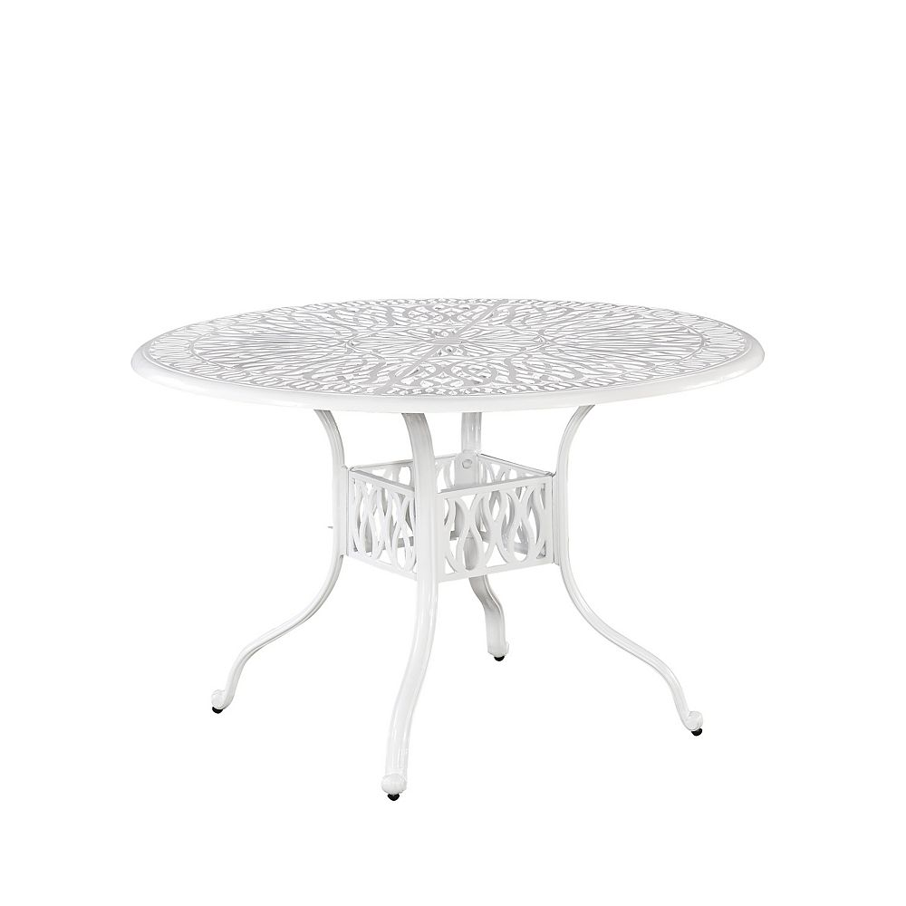 Home Styles Floral Blossom 48-inch Round Patio Dining Table in White