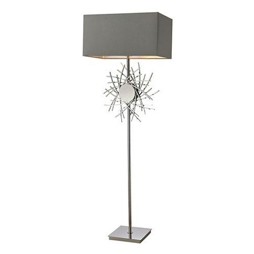 Lampe à pied Cesano de 62po avec ornement métallique de forme abstraite au fini nickel poli