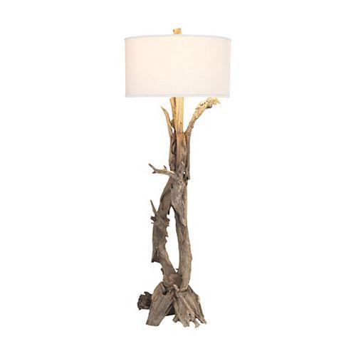 Lampe à pied Hounslow Heath de 68po au fini teck naturel, pour une ampoule