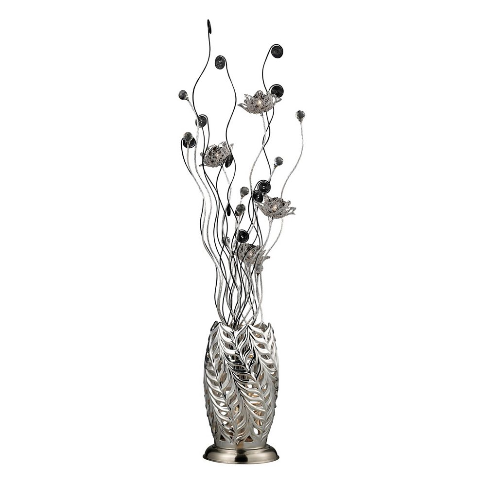 Titan Lighting Cyprus Grove 55 Inch Floral Display Floor Lamp in Chrome And Black