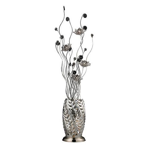 Lampe à pied Cyprus Grove de 55po avec fleurs au fini chrome et noir