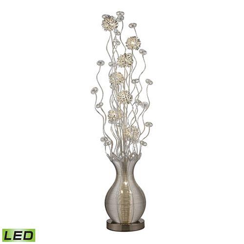 Lampe à pied contemporaine Uniontown de 63po avec fleurs au fini argenté