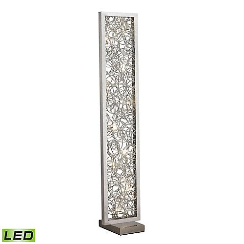 Lampe à pied DEL Basinger de 60po avec ornements métalliques de forme abstraite au fini argenté