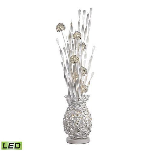 Lampe à pied contemporaine Calico de 63po avec fleurs au fini argenté