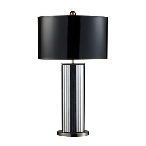 Lampe de table Shreve miroir et nickel noir de 32po, abat-jour en similicuir noir et tissu argenté