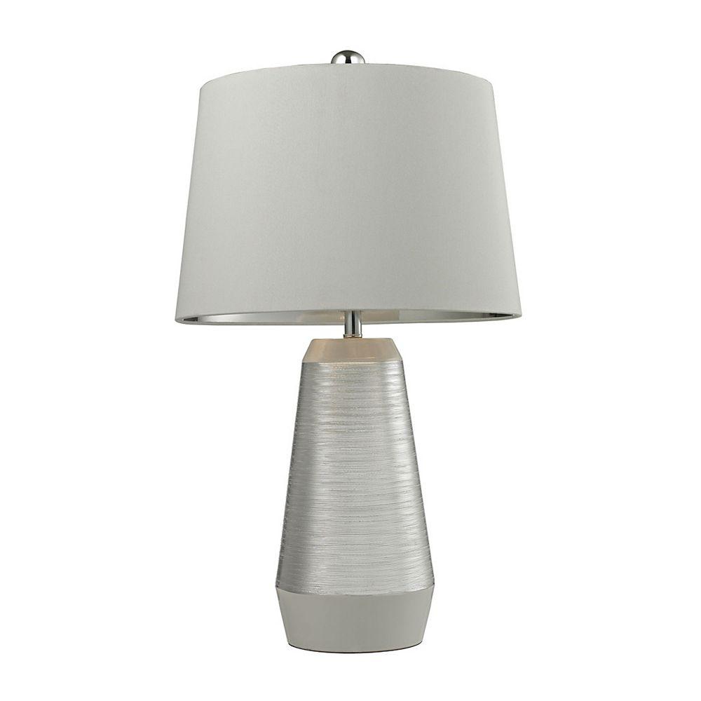 Titan Lighting Lampe de table de 26po en céramique gravée au fini argenté et blanc
