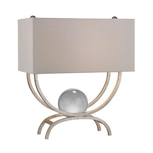 Lampe de table Chelsea de 20po avec boule de cristal flottante au fini feuille dargent