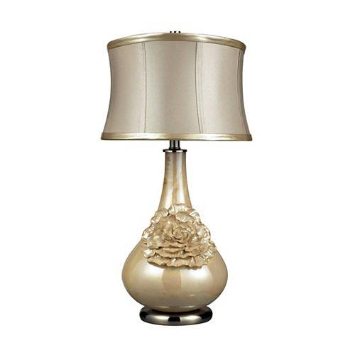 Lampe de table Eleanor de 27po au fini crème perlé avec abat-jour de couleur crème
