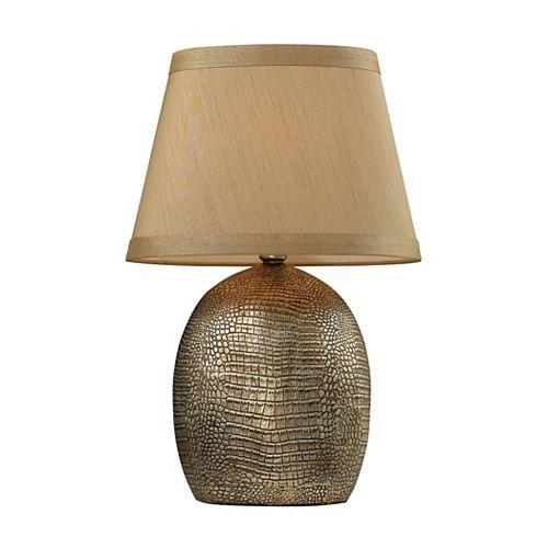 Lampe de table Gilead de 21po à base texturée en simili-crocodile au fini bronze Meknès