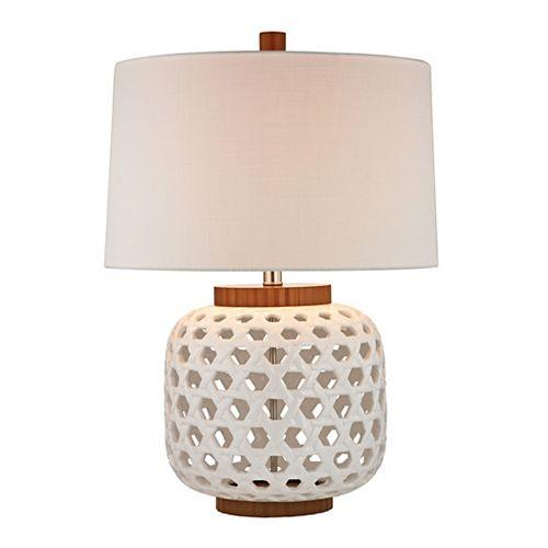 Lampe de table de 26po en céramique ajourée de couleur blanc et bois