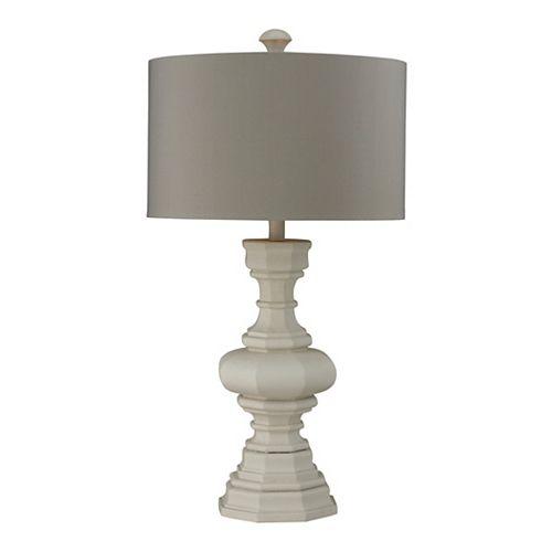 Lampe de table Parisian de 31po au fini plâtre avec abat-jour gris pâle