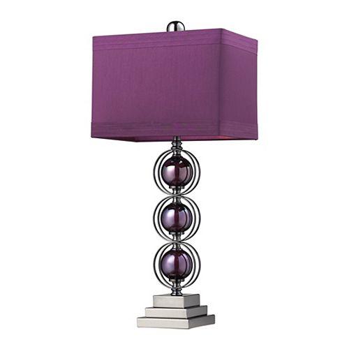 Lampe de table contemporaine Alva de 27po au fini mauve et nickel noir