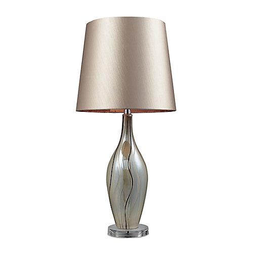 Lampe de table Etna de 30po en céramique au fini ruban peint avec abat-jour champagne