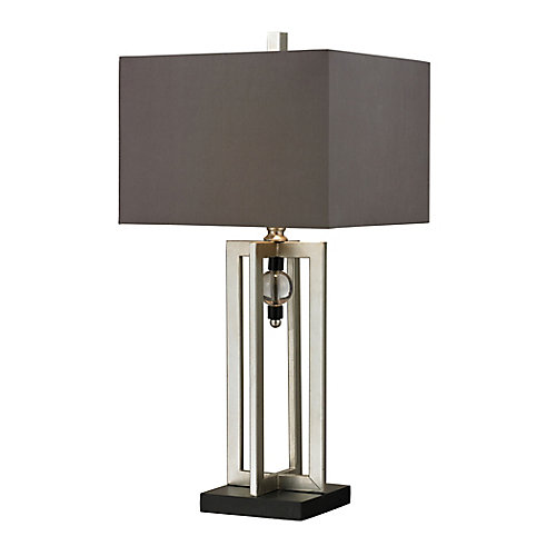 Silver Leaf 30 Inch Table Lamp With Crystal Accents And Grey Shade