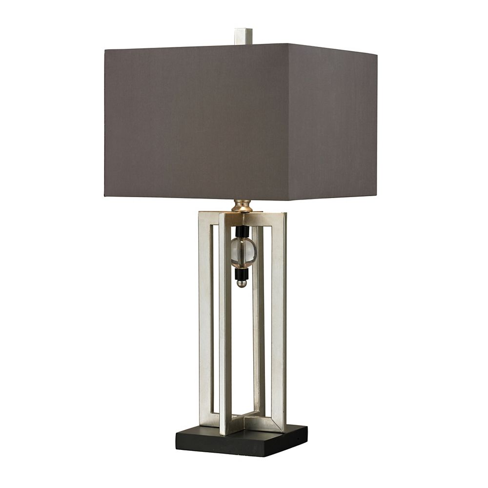 Titan Lighting Silver Leaf 30 Inch Table Lamp With Crystal Accents And Grey Shade