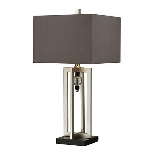 Lampe de table de 30po au fini feuille dargent avec ornements en cristal et abat-jour gris
