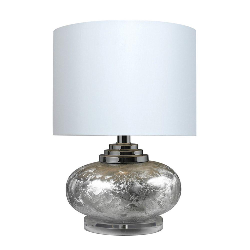 Titan Lighting Lampe de table de 20po en céramique givrée avec abat-jour blanc