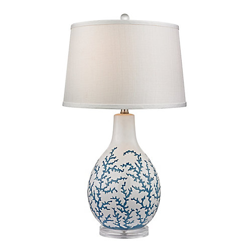 Sixpenny 27 Inch Blue Coral Table Lamp in White