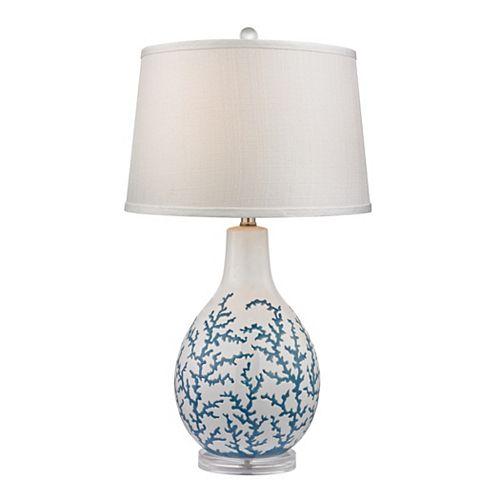 Lampe de table Sixpenny de 27po à motifs de coraux bleus sur fond blanc