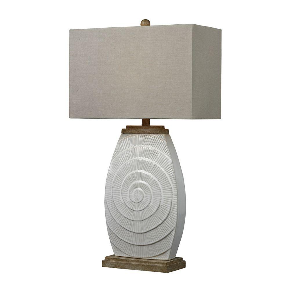 Titan Lighting Lampe de table de 31po en céramique givrée et ornée de bois naturel