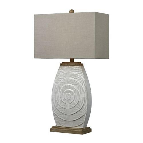 Lampe de table de 31po en céramique givrée et ornée de bois naturel
