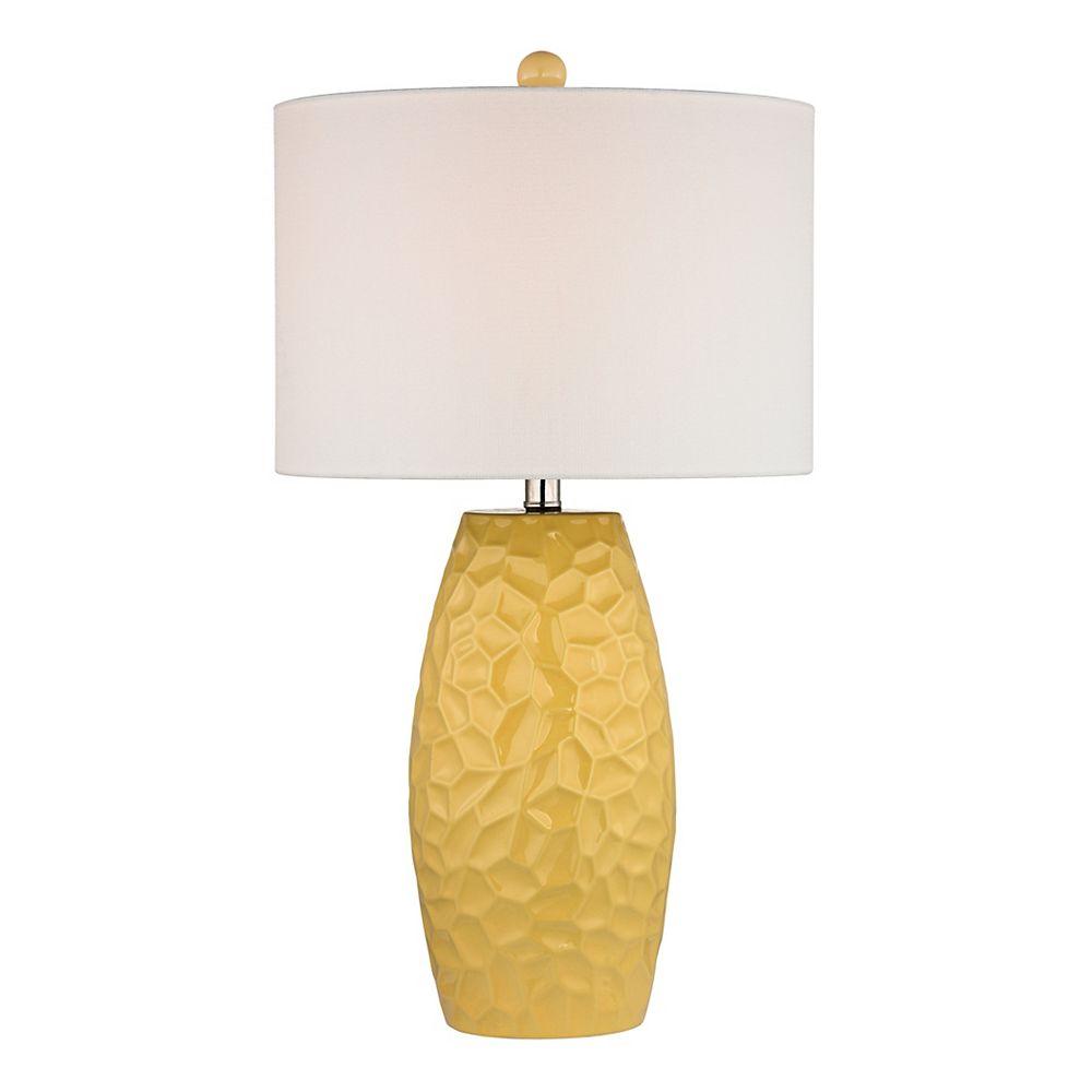 Titan Lighting Lampe de table de 27po en céramique jaune soleil avec abat-jour en lin blanc