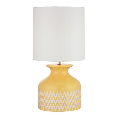 Lampe de table Carnforth de 20 po en céramique jaune soleil