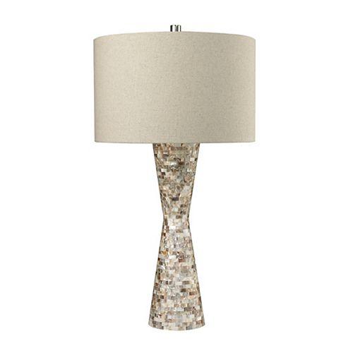 Lampe de table cintrée de 27po en nacre avec abat-jour en lin de couleur sable