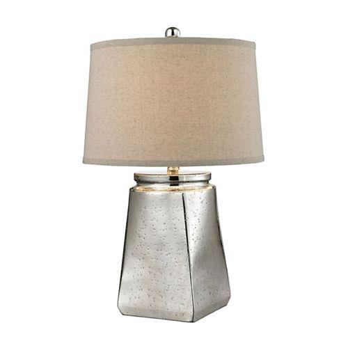 Lampe de table Tapered Square de 25po en verre argenté