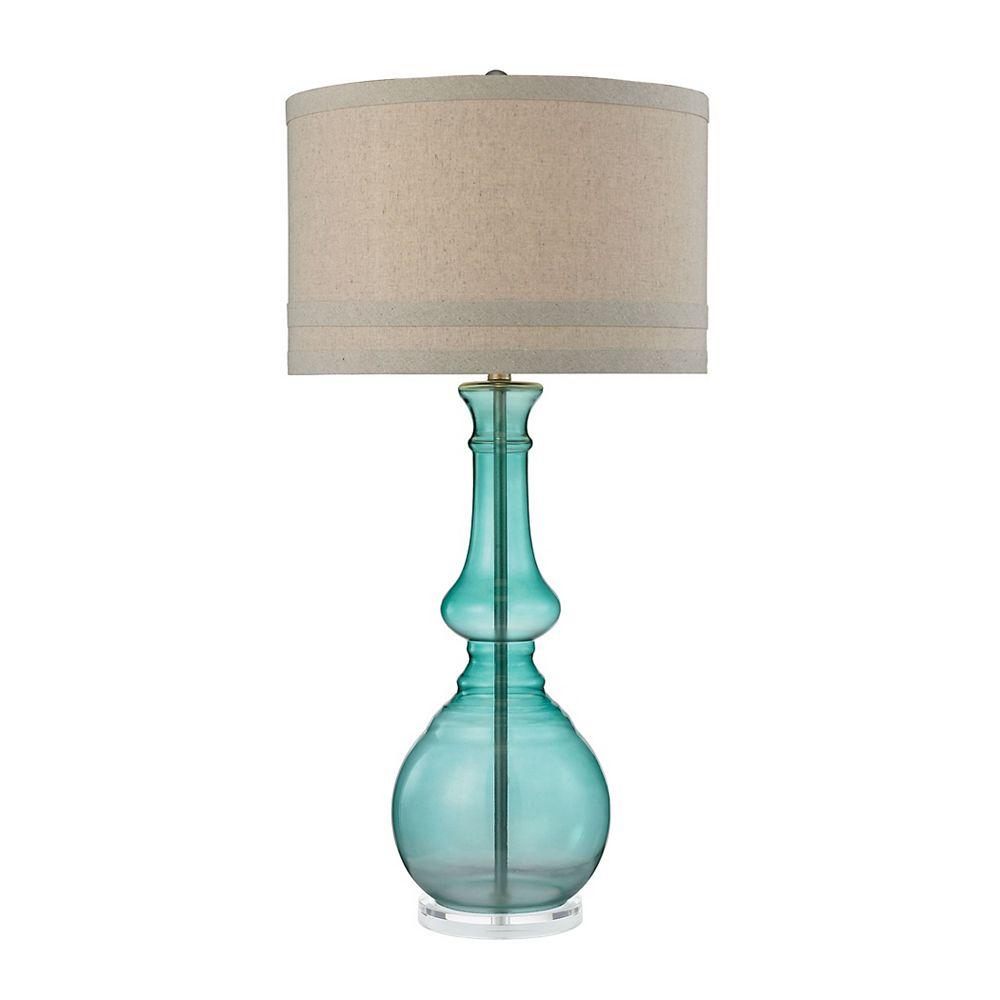 Titan Lighting Grande lampe de table de 38po en verre de couleur vert embrun