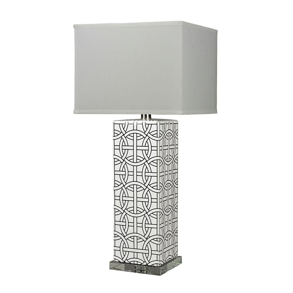 Titan Lighting Lampe de table Linked Rings de 31po en céramique bleu et blanc