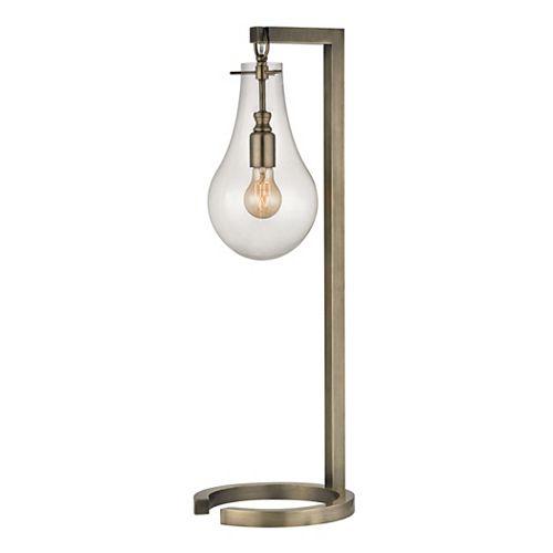Titan Lighting Lampe de table de 29po en laiton antique avec abat-jour en verre transparent