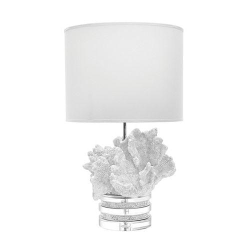 Lampe de table Coral and Crystal de 26po avec abat-jour en suède, blanc