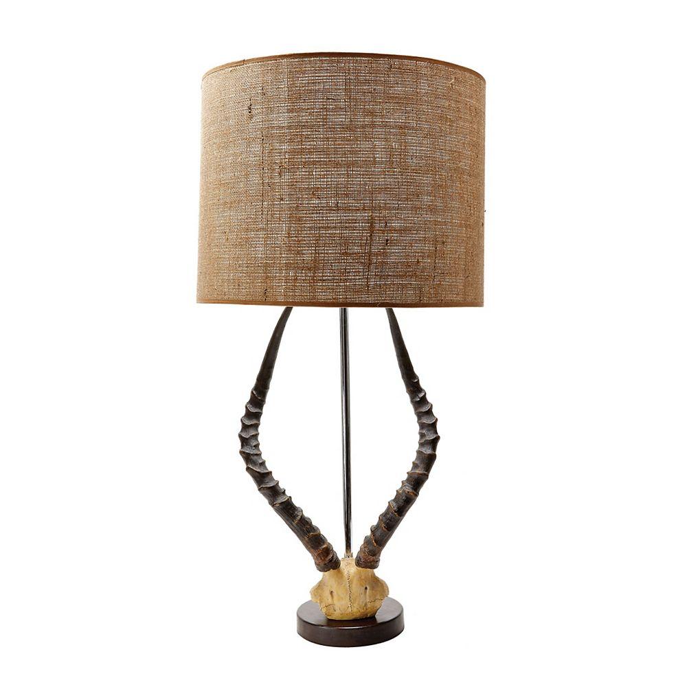 Titan Lighting Lampe Faux Horn de 31po au fini naturel avec abat-jour en toile de jute