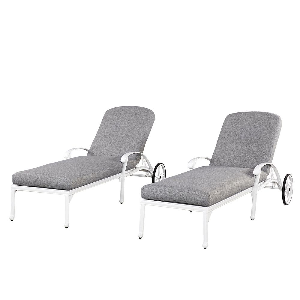 Home Styles Floral Blossom White Chaise Lounge Chairs with Cushions (2)