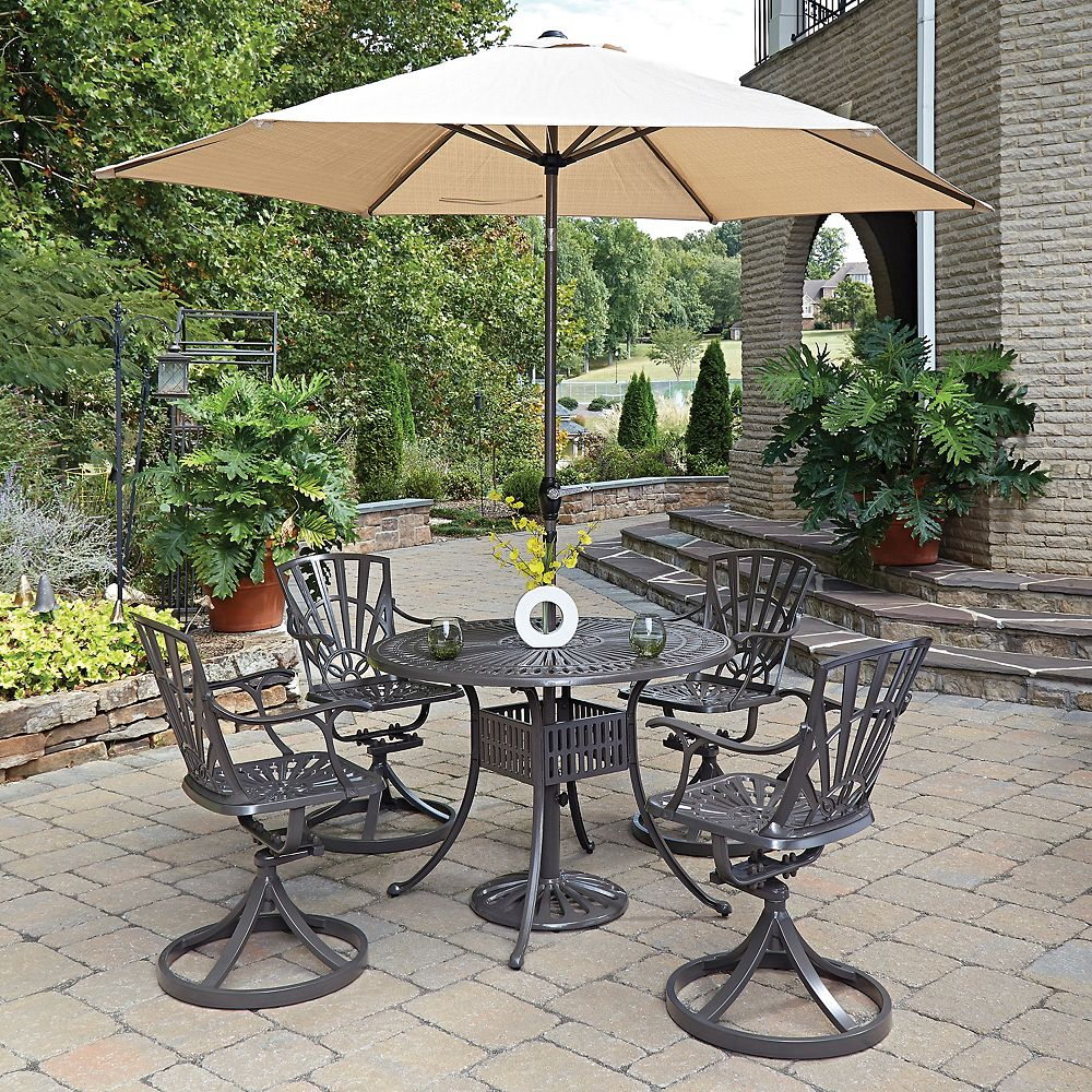 Home Styles Largo 5-Piece 42-inch Dining Set with Swivel Chairs & Umbrella in Taupe