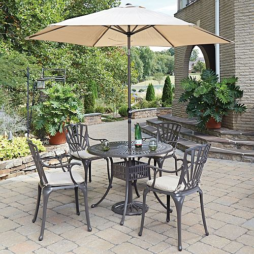 Home Styles Largo 5-Piece 42-inch Dining Set with Cushioned Arm Chairs & Umbrella in Taupe