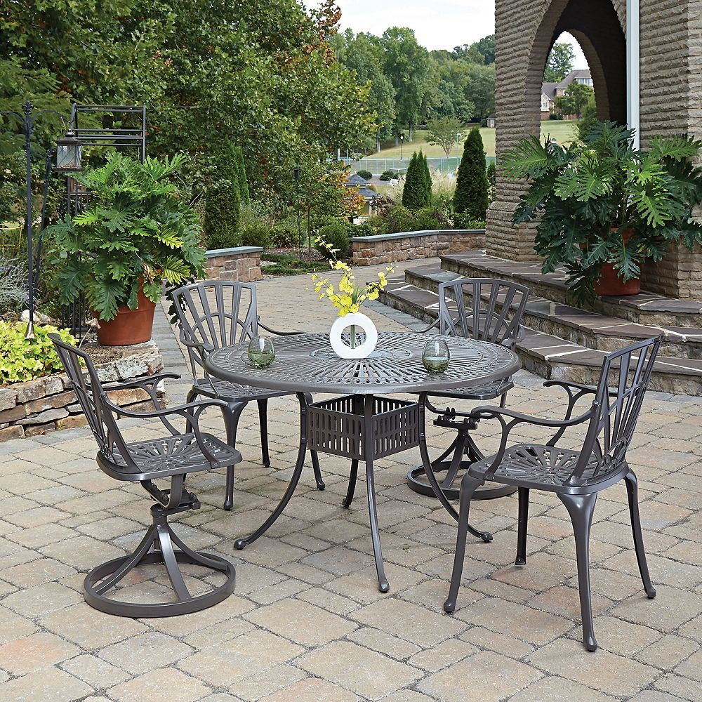 Home Styles Largo 5-Piece 48-inch Dining Set with Chairs in Taupe
