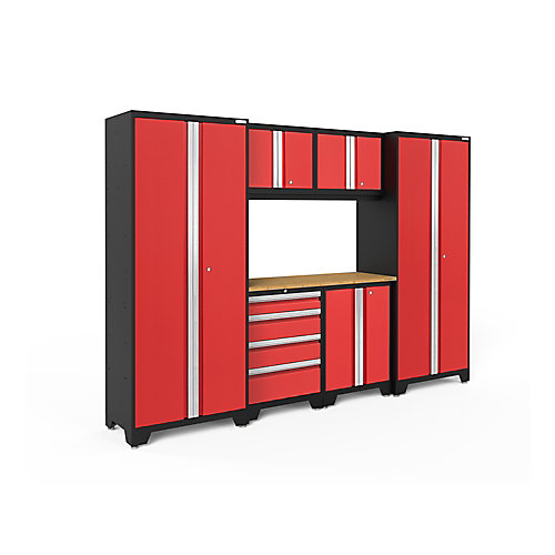 Bold 3.0 Series 7-Piece Garage Cabinet Set in Red