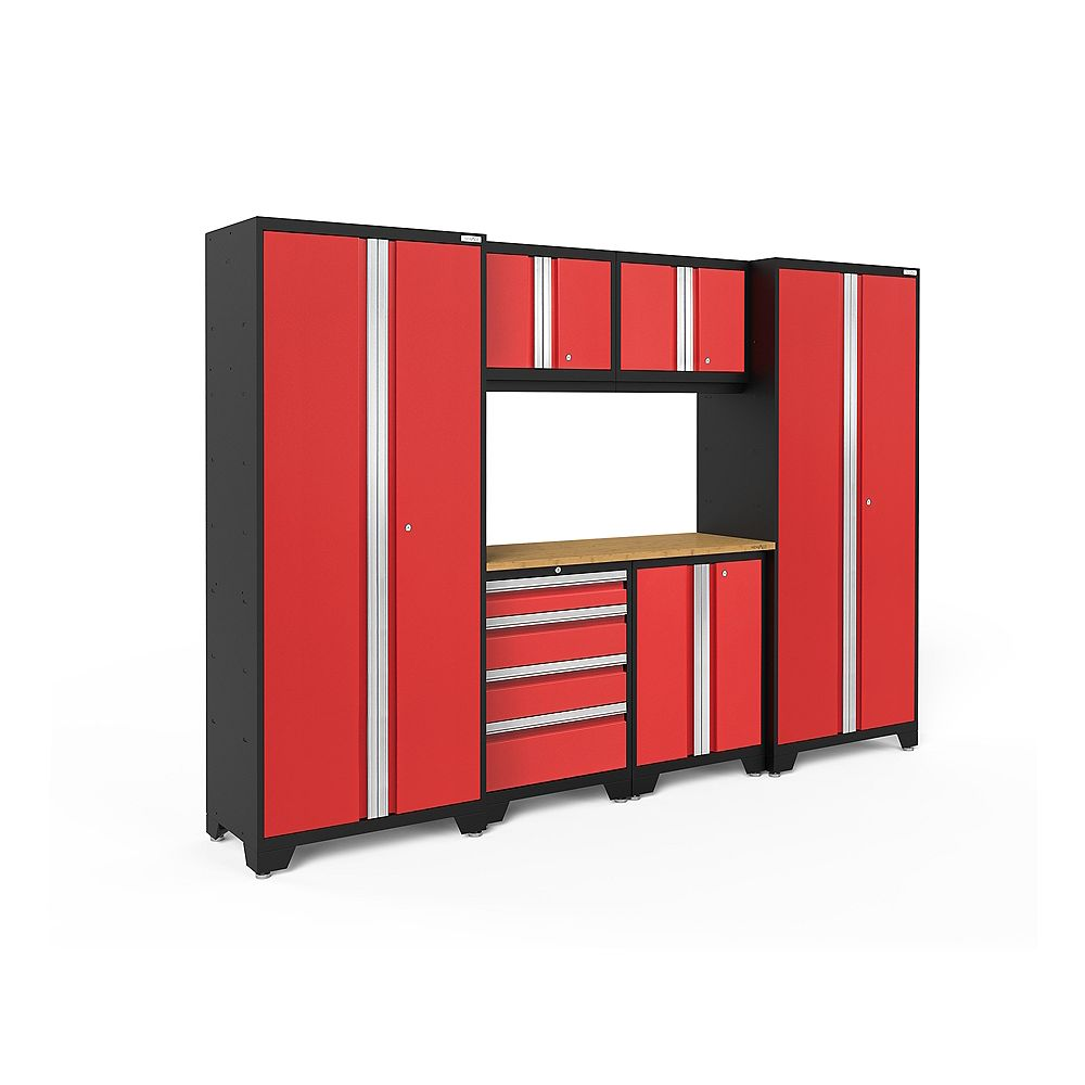 NewAge Products Inc. Bold Series 7-Piece Garage Cabinet Set in Red