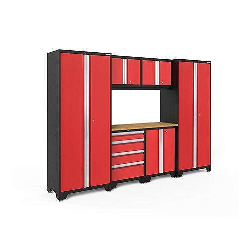 Bold Series 7-Piece Garage Cabinet Set in Red