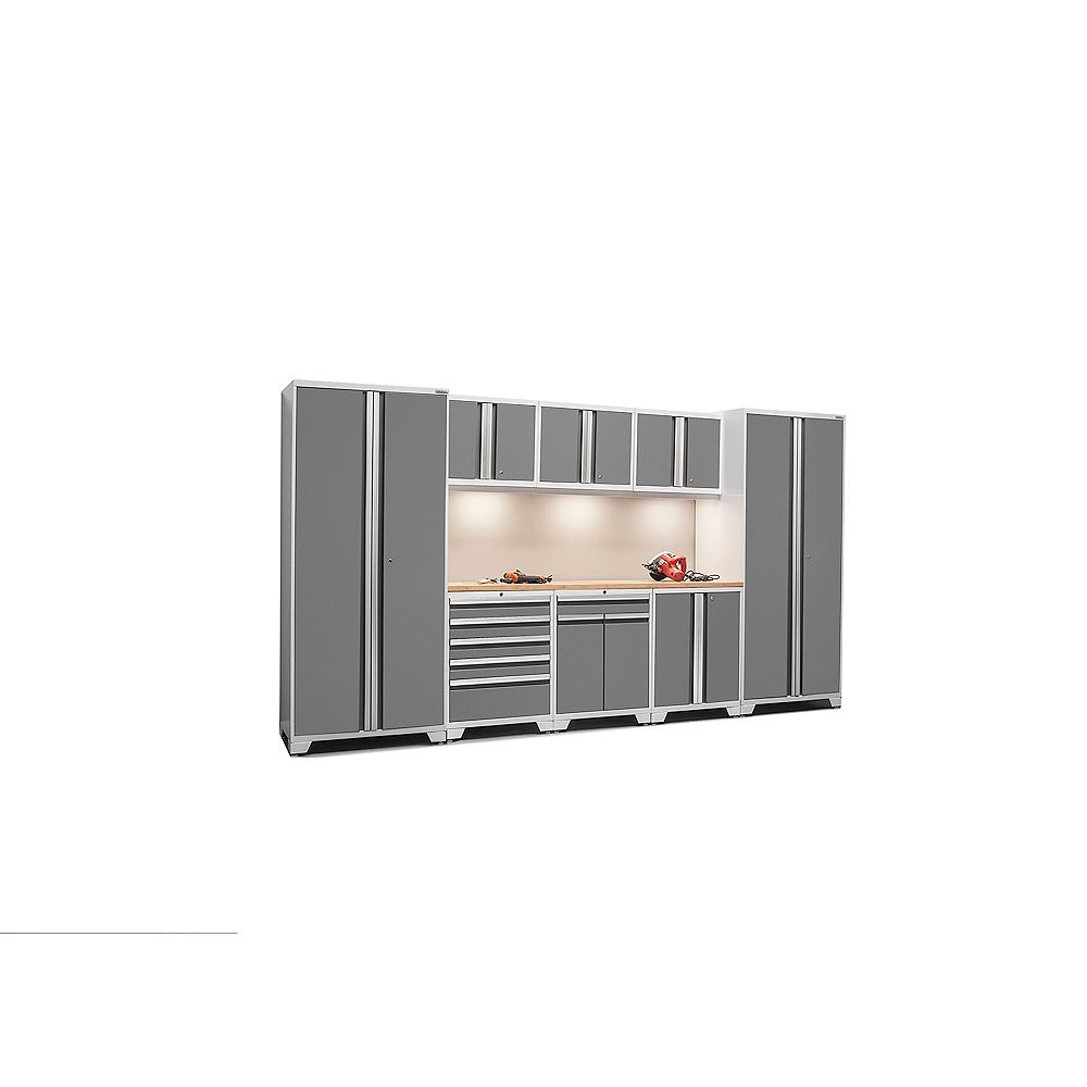 NewAge Products Inc. Pro Series 18-Gauge Welded Steel Bamboo Worktop Cabinet Set (9-Piece)