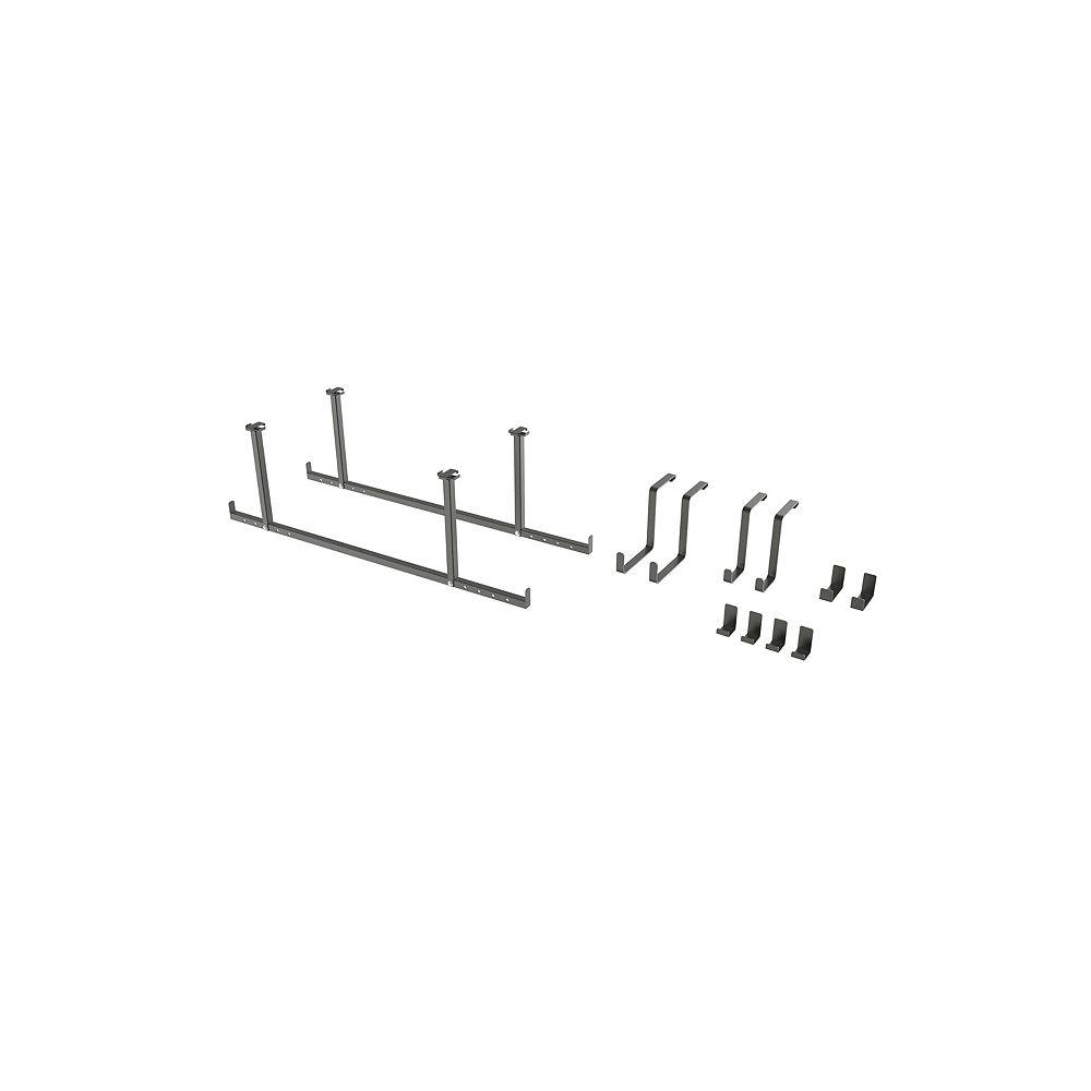 NewAge Products Inc. Versarac ajustable 4 x 8 – Ensemble de 12 morceaux, crochets multiples – Gris