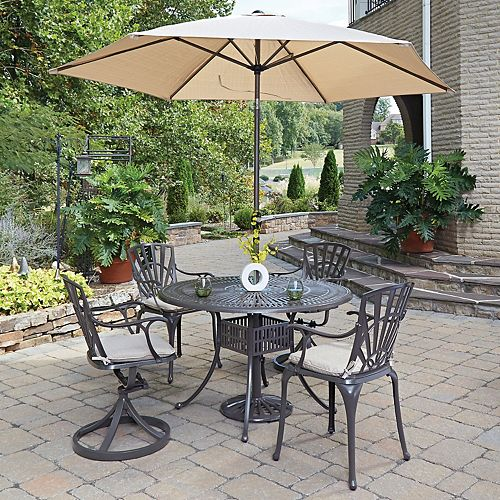 Largo 5-Piece 48-inch Dining Set with Cushioned Chairs & Umbrella in Taupe