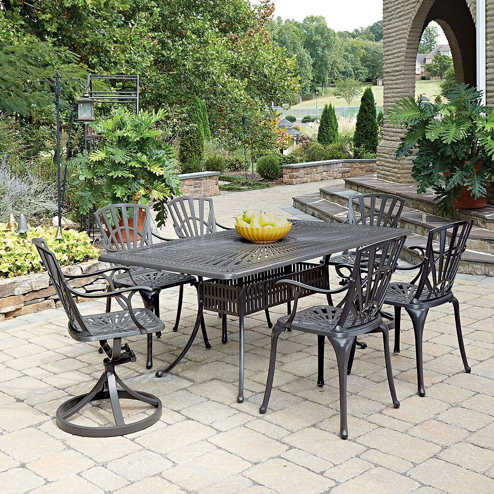 Home Styles Largo 7-Piece Rectangular Patio Dining Set with Dining Chairs in Taupe