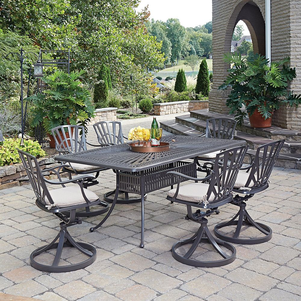 Home Styles Largo 7-Piece Rectangular Patio Dining Set with Cushioned Swivel Chairs in Taupe