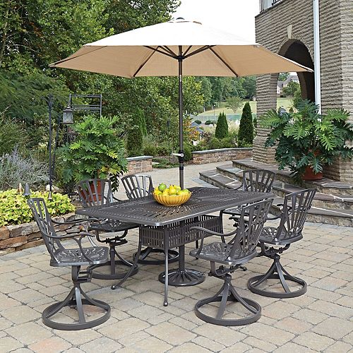 Largo 7-Piece Rectangular Patio Dining Set with Swivel Chairs & Umbrella in Taupe