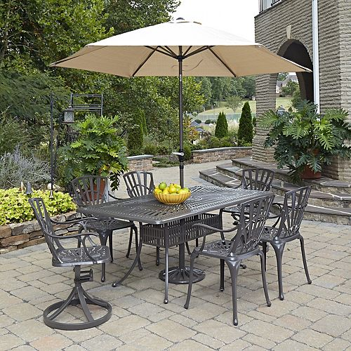 Largo 7-Piece Rectangular Patio Dining Set with Dining Chairs & Umbrella in Taupe