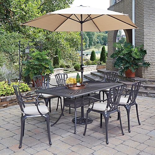 Largo 7-Piece Rectangular Patio Dining Set with Cushioned Arm Chairs & Umbrella in Charcoal