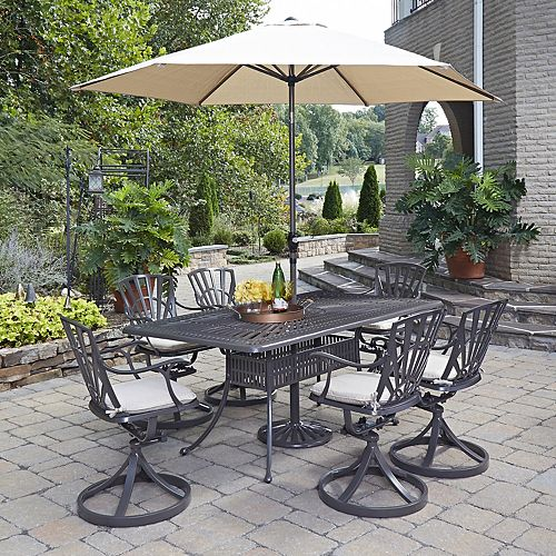 Largo 7-Piece Rectangular Patio Dining Set with Cushioned Swivel Chairs & Umbrella in Taupe